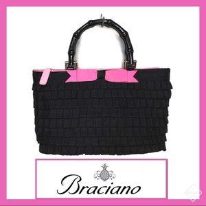 Braciano Blk Ruffle Bag Pink Bow & Bamboo Handles